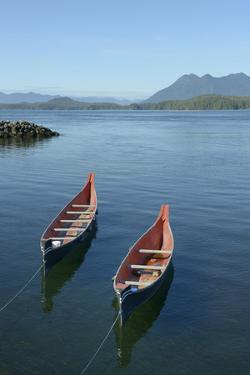 Canada, Vancouver Island. Native Canoes Anchored in Tofino Harbor by Kevin Oke