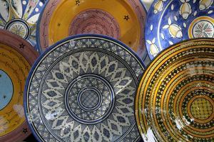France, Aix-En-Provence. Ceramic Plates, Cours Mirabeau Market by Kevin Oke