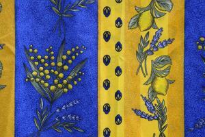 France, Bouches-Du-Rhone. Aix-En-Provence. Textiles at Market by Kevin Oke