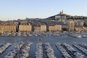 France, Marseille. Vieux Port with Basilique Notre Dame De La Garde by Kevin Oke
