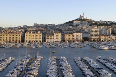 France, Marseille. Vieux Port with Basilique Notre Dame De La Garde