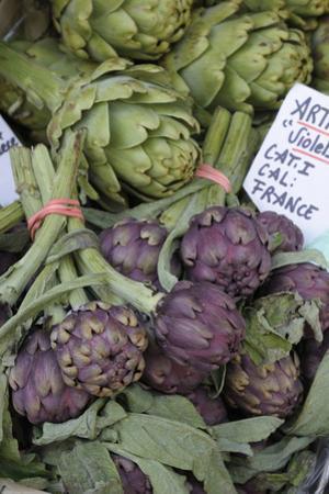 France, Vaucluse, Lourmarin. Purple Artichokes at Market