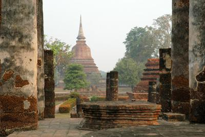 Thailand, Sukhothai. Wat Mahathat Chedi at Sukhothai Historic Park