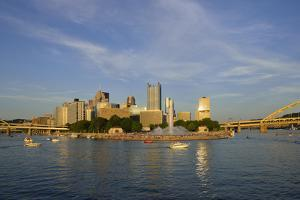 USA, Pennsylvania, Pittsburgh. Boats in Front of Point State Park by Kevin Oke
