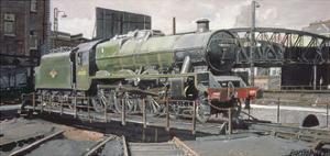 Jubilee Turnaround, Hawke 45652 Jubilee Class Locomotive on Camden Turntable, London by Kevin Parrish