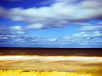 Sea and Empty Beach in at Night, Blackpool, England, Uk