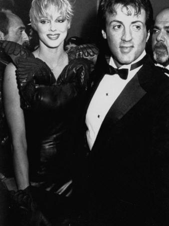 "Actors Sylvester Stallone and Brigitte Nielsen at Film Premiere of His ""Rocky IV"""