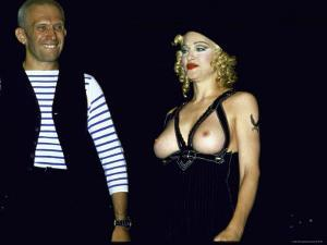 Designer Jean Paul Gaultier Standing Beside Bare Breasted Singer Madonna by Kevin Winter