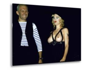Designer Jean Paul Gaultier Standing Beside Bare Breasted Singer Madonna by Kevin Winter
