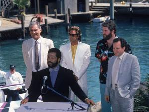 Philip Michael Thomas and Don Johnson at a Press Conference for Miami Vice by Kevin Winter