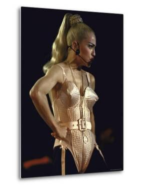 Pop Star Madonna Wearing Conical Bustier While Performing Onstage by Kevin Winter