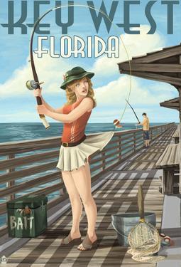 Key West, Florida - Fishing Pinup Girl