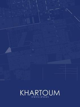 Khartoum, Sudan Blue Map