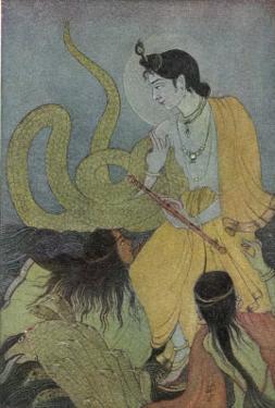 Krishna Defeats the 5 Headed Serpent Kaliya by Khitindra Nath Mazumdar