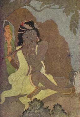 Krishna, The 8th Avatar of Vishnu with Radha, One of the Gopis by Khitindra Nath Mazumdar
