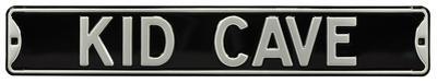 Kid Cave Steel Street Sign - Black/Silver