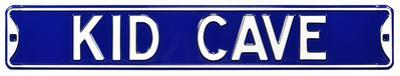 Kid Cave Steel Street Sign - Blue/White