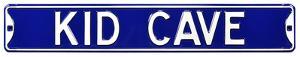 Kid Cave Steel Street Sign - Blue/White