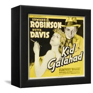 KID GALAHAD, Bette Davis, Edward G Robinson on jumbo window card, 1937