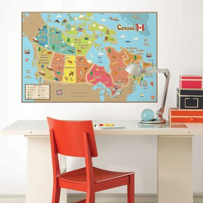 Kids Canada Dry Erase Map Wall Decal