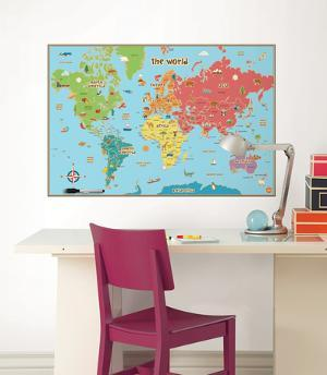 Map wall decals posters for sale at allposters kids world map wall decal sticker gumiabroncs Images
