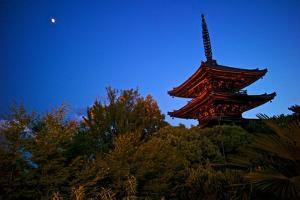 The Moon Shines on the Three Level Yasaka Pagoda by Kike Calvo
