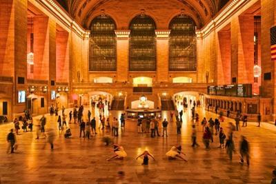 Three Ballerinas in White Tutus Dancing at Grand Central Station at Night