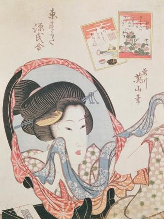 Woman at her Mirror, published c.1830 by Kikugawa Toshinobu Eizan