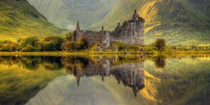Kilchurn Castle Reflection in Loch Awe, Argyll and Bute, Scottish Highlands, Scotland