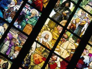 Art Nouveau Artist Alfons Mucha Stained Glass Window, St. Vitus Cathedral, Prague, Czech Republic by Kim Hart