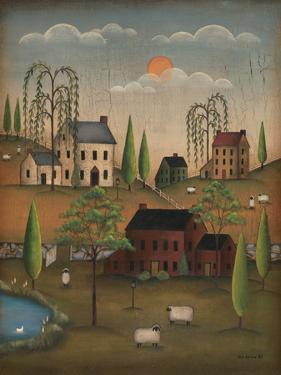 Village with Sheep by Kim Lewis