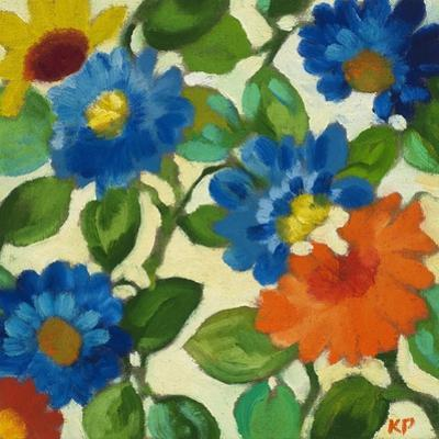 Blue Zinnias by Kim Parker