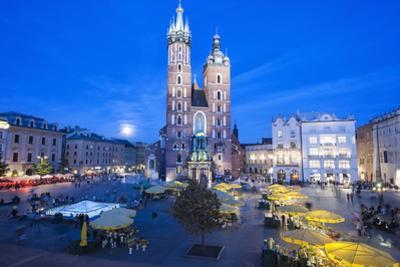 St. Mary's Basilica Illuminated at Twilight, Rynek Glowny (Old Town Square), Krakow, Poland, Europe by Kim Walker