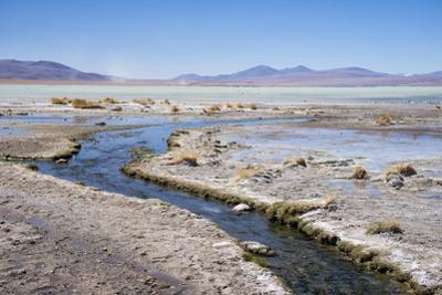 Water from Mineral Lakes Leading to the Laguna Polques Hot Springs Near Chilean Border by Kim Walker