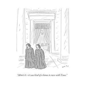 """Admit it—it was kind of a bonus to mess with Texas."" - Cartoon by Kim Warp"