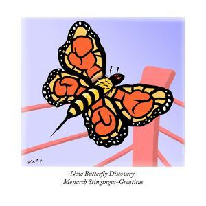 -New Butterfly Discovery- Monarch Stingingus-Greaticus - Cartoon by Kim Warp