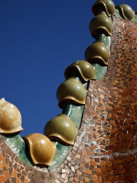 Ornate Mosaic Roof of Casa Batllo, Designed by Antoni Gaudi, in Gracia District by Kimberley Coole