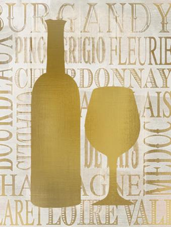 Golden Wine Silhouette 1 by Kimberly Allen