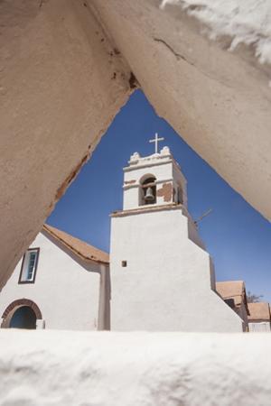 Adobe San Pedro Church Bells Seen Through Adobe Fence, San Pedro, Chile, South America by Kimberly Walker