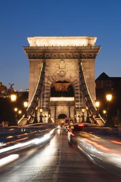 Chain Bridge (Szechenji Lanchid) at Twilight by Kimberly Walker