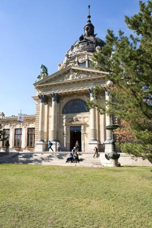 Exterior Facade with Columns and Sculptures of the Famed Szechenhu Thermal Bath House by Kimberly Walker