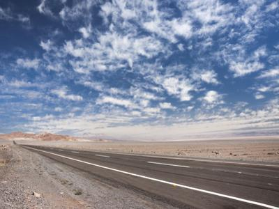 Open Paved Road with No Traffic in Atacama Desert, Chile, South America by Kimberly Walker