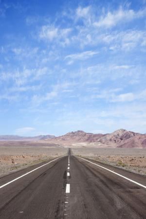 Open Road Paved Highway with No Traffic in Atacama Desert, Chile, South America by Kimberly Walker
