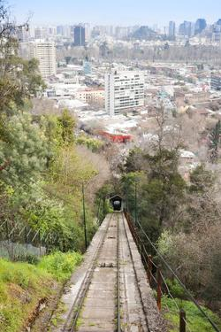 Teleferico Cable Car Ascending Hill at Parque Metropolitano De Santiago by Kimberly Walker