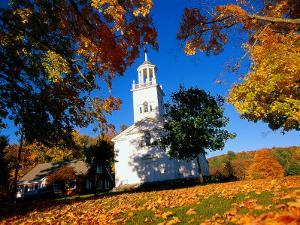 Church and Autumn Foliage, Otis, MA by Kindra Clineff