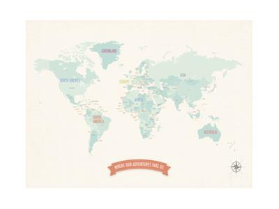 Beige World Travel Map by Kindred Sol Collective