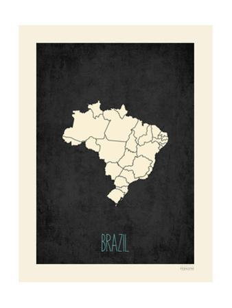 Black Map Brazil by Kindred Sol Collective