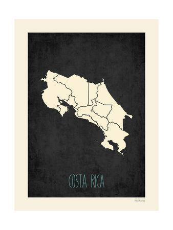 Black Map Costa Rica