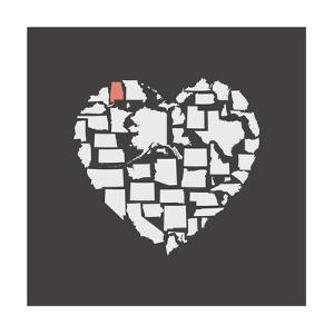 Black USA Heart Graphic Print Featuring Alabama by Kindred Sol Collective