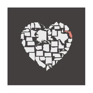 Black USA Heart Graphic Print Featuring Florida by Kindred Sol Collective